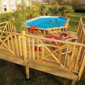 Piscine in legno EcoWood ottagono lungo con solarium in legno