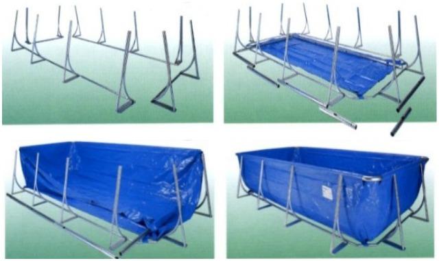 Montaggio piscine rivestite in legno telaio