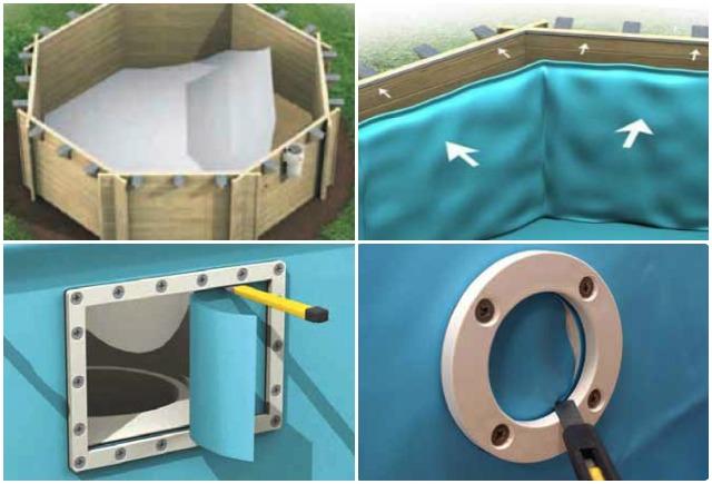 Montaggio piscine con struttura in legno accessori