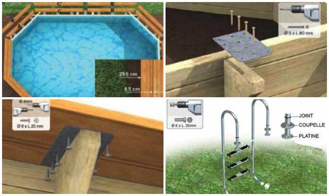 Montaggio piscine con struttura in legno bordi