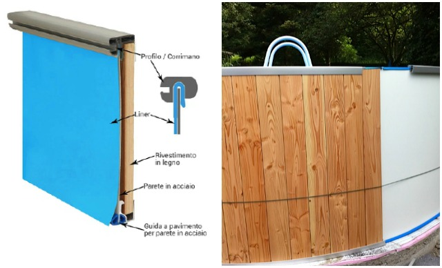 Montaggio piscine rivestite in legno rivestimento