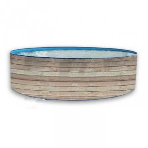 Piscine in lamiera d'acciaio effetto legno wood rotonda