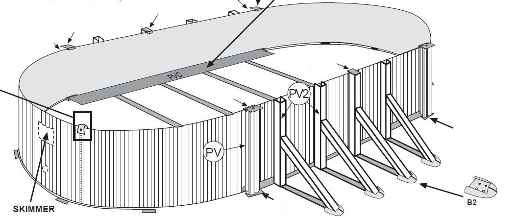 Montaggio piscine in acciaio pareti